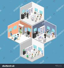 flat 3d isometric abstract office floor stock vector 489150973