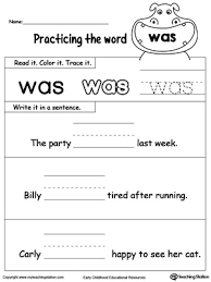 build sentences using sight word was sentences worksheets and