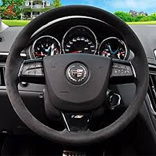cadillac cts steering wheel amazon com sewing black genuine leather steering wheel cover