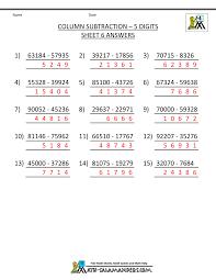 5 digit subtraction worksheets