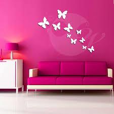 buy new hot diy wall art decal decoration fashion romantic flower butterflies acrylic 3d wall art sticker 10 pieces