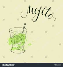 mojito recipe card glass mojito cocktail green brushstrokes on stock vector 429423376