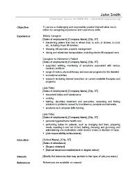 sample job objective for resume caregiver resume jobs example of