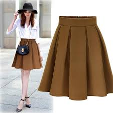 knee length skirt winter pleated skirt jupe woman skater high waist skirt with