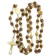 gold crystal beaded necklace images Rosary beads brown crystal beaded gold plated necklace with jpg