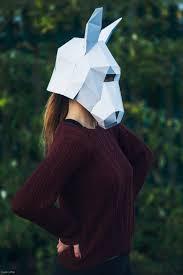 3d paper donkey halloween mask papercraft template printable