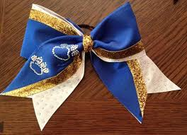 white and blue bows school cheer bows