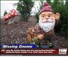 Gnome Meme - missing gnome issin live larry the garden gnome was lastseen leaving