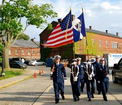 Color Guard Presentation Of The Flags Auxiliarists Practice For The Memorial Day Parade Coast Guard