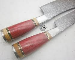 Hand Forged Kitchen Knives Lot Of 2 Pcs Damascus Kitchen Knife Custom Handmade Damascus Steel