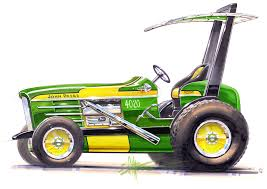 chip foose goes john deere green rods a tractor car and