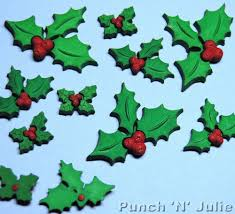holly jolly christmas green leaves red berries plastic craft