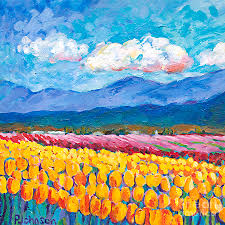 yellow tulip field painting by peggy johnson