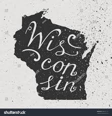 Wisconsin State Map by Wisconsin State Grunge Map Handlettering Stock Vector 383211112