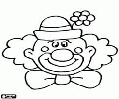 clown face with a hat with a flower coloring page art
