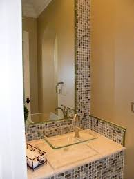 Mirrored Mosaic Tile Backsplash by Glass Vessel Sinks Powder Room Contemporary With Bathroom Mirror