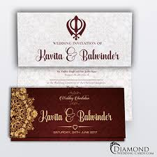 sikh wedding cards burgundy royal sikh wedding card light version diamond