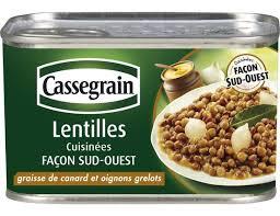 sud ouest cuisine lentilles cuisinées façon sud ouest cassegrain 410 g cassegrain