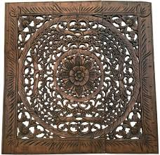 Thailand Home Decor Oriental Hand Carved Wood Wall Plaques Large Square Floral Wood