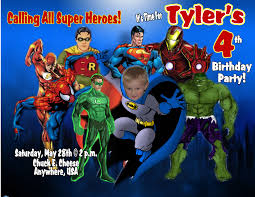 Personalized Memes - super heroes personalized photo birthday invitations