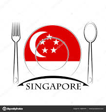 Singapur Flag Food Logo Made From The Flag Of Singapore U2014 Stock Vector