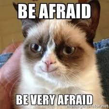 Afraid Meme - be afraid be very afraid grumpy cat smile meme generator
