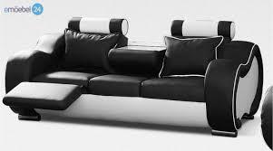 3 sitzer sofa alaska 3 sitzer couch sofa echtleder pu schwarz weiss emoebel24