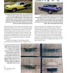 barracuda 1971 plymouth u0027cuda in detail no 2 book paint codes