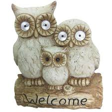 alpine 16 in solar owl family welcome statue qwr476slr the home