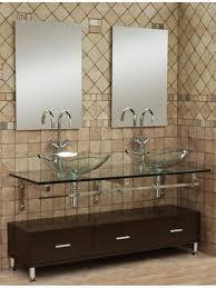 Glass Vanity Sinks Brilliant Bathroom Vanities With Double Vessel Sinks Using Clear