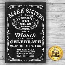 Black Card Invitation Jack Daniels Him Her Birthday Card Invitation Label