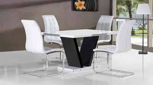 High Gloss Dining Table  Chairs Gloss Dining Sets Homegenies - Black and white dining table with chairs