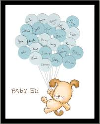 unique baby shower guest book print puppy design