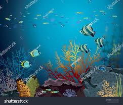 coral reef underwater creatures fish stock vector 164154266