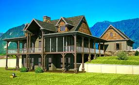 Craftsman Style House Plans With Wrap Around Porch Open Floor Plan With Wrap Around Porch Mountain House Plans