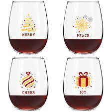 cartoon wine glass cheers christmas puns funny stemless wine glasses set of 4 15 oz