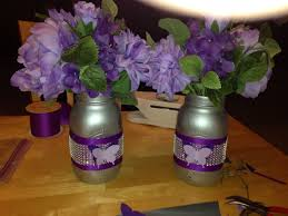 mason jar centerpieces for purple themes baby shower baby