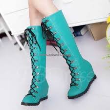 womens knee high boots nz nz 174 womens boots toe elevator heel lace up front knee