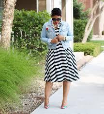 black u0026 white striped dress denim jacket mimi g style