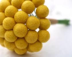 Yellow Pom Pom Flowers - items similar to craspedia wedding bouquet bride bridal posy