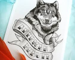 wolf tattoo original pen and ink drawing black and gray