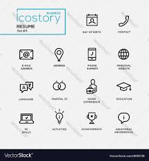 Resume Simple Design Modern Resume Simple Thin Line Design Icons Vector Image