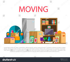 moving new house home furniture things stock vector 440764030
