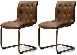Uk Dining Chairs Buy Jameston Brown Faux Leather Button Back Dining Chair Pair
