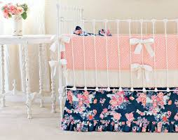 Preppy Crib Bedding Nursery Beddings Baby Bedding In Coral And Navy With Coral And