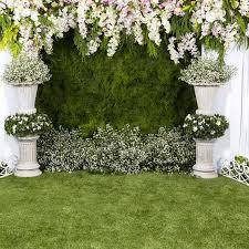 wedding backdrop grass allenjoy vinyl photographic background white grass flowers to