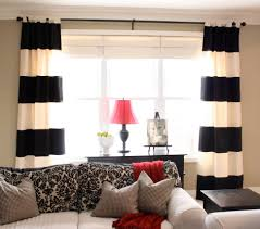 coffee tables black and white vertical striped curtains