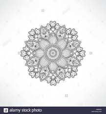 abstract ornamental floral mandala black and white line pattern