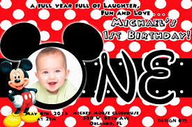 Invitation Card For 1st Birthday Birthday Invitation Mickey Mouse U2013 Orderecigsjuice Info