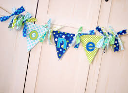 shabby chic rag flag fabric highchair banner in turquoise aqua